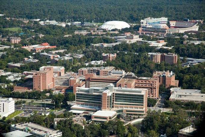 The University of Florida Health Science Center, pictured in the middle, is a hub of innovative education and research. Graduate students within the Department of Pharmaceutical Outcomes and Policy are in the midst of an 850-bed tertiary care teaching facility, and six health colleges that comprise the Health Science Center – Dentistry, Medicine, Nursing, Pharmacy, Public Health and Health Professions, and Veterinary Medicine.