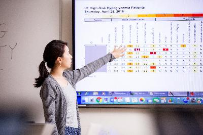 Graduate student presenting project